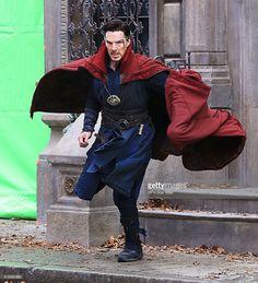 ニュース写真 : Actor Benedict Cumberbatch is seen on the set of...