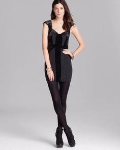 $138 Free People Madeline Mini Black Lace Polka Dot Velvet Dress