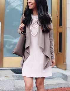 Fall work outfit - drape cardigan + pink shift dress + pearls for the office