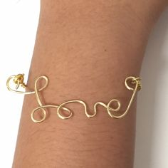 Made a gold wire Love bracelet!