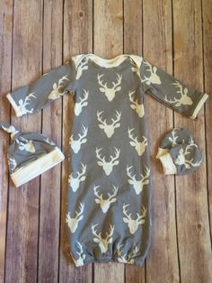 Deer baby gown knot hat and no scratch mittens by JakeAndBeth