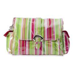 Kalencom Single Buckle Laminated Diaper Bag in Ruby Stripes - BedBathandBeyond.com