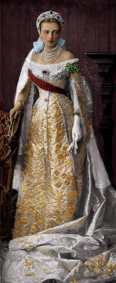 Grand Duchess Anastasia Mikhailovna Romanova of Russia in full court dress.