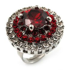 Ruby Red Coloured CZ Statement Cocktail Ring (Silver Tone)