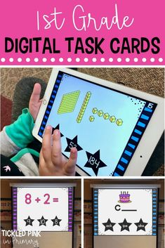 Of digital task cards will give your kindergarten or first grade students a Number Sense Activities, Geometry Activities, Kindergarten Activities, Learning Activities, Teaching Ideas, First Grade Math, Grade 1, Thing 1, School Closures