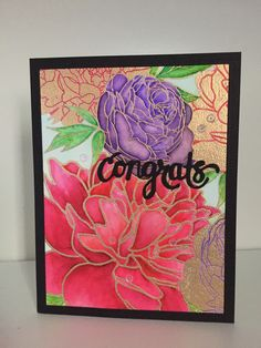 Engagement card stamped with the Peony Garden Background stamp by The Ton and colored with Zig Clean Color Real Brush markers.  Congrats die by Hero Arts.