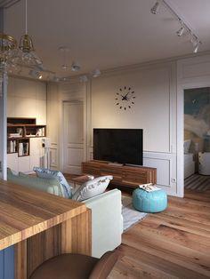 Fiatal pár kétszobás első otthona - 43m2-es lakás ötemeletes téglaházban, berendezés klasszikus és skandináv elemekkel Ikea, House Design, Ceiling Lights, Living Room, Studio, Interior, Home Decor, Decoration Home, Ikea Co