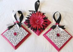 Hey, I found this really awesome Etsy listing at http://www.etsy.com/listing/92161236/wall-plaques-flower-hot-pink-black-and