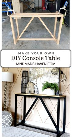 Build a modern console table for the living room with this easy how-to with build plans. Diy Furniture Projects, Diy Wood Projects, Table Furniture, Furniture Storage, Bedroom Storage, Diy Bedroom Projects, Diy Home Decor Projects, Diy Projects Apartment, Diy Furniture Building