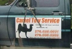 Bs Funny Sign Camel Tow