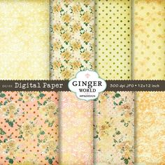 Yellow flower Digital Paper Vintage background by GingerWorld