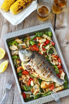 Grilled Whole Fish with Italian Bread Salad Perfect weekend barbecue recipe via happyfoodstube Fish Recipes Dairy Free, Veggie Recipes Healthy, Grilled Fish Recipes, Grilled Fruit, Skewer Recipes, Easy Fish Recipes, Grilled Vegetables, Seafood Recipes, Dinner Recipes