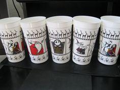 """Nightmare Before Christmas  """"Five Unused 32oz Plastic Movie Cups"""" Mint Unused #MovieCups"""