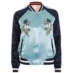 Topshop Two-in-One Reversible Bomber Jacket found on Polyvore featuring outerwear, jackets, bomber jacket, topshop, bomber style jacket, embroidered jacket, sports jacket, blue sport jacket and blue jackets