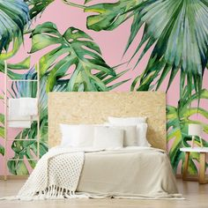 We're getting all the holiday vibes from this super on-trend bedroom. Providing a stylish pop of colour, this unique twist on the classic jungle-inspired wallpaper takes tropical styling to a whole new level! Pair this fun and bright design with neutral-toned decor such as light wooden furniture and simple white bedding. This will ensure the wall takes centre stage. Shop the look at Wallsauce.com! Tropical Bedrooms, Color Pop, Colour, Tropical Wallpaper, White Bedding, Bedroom Inspo, Beautiful Bedrooms, Wooden Furniture, Color