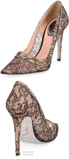 Rene Caovilla Floral Lace Crystal-Detailed Point-Toe Pump