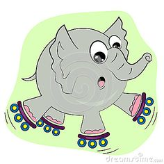 cartoon elephant | Cartoon Elephant Skating On Rollers Royalty Free Stock Photos - Image ...