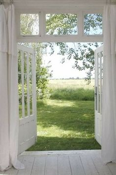 Double doors in a clean, well-lighted place. The whiteness and sunshine looks so healthy.