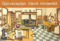 the kitchen, metal objects (Scheepstra en Walstra) Magazine Illustration, Illustration Art, Vintage Illustrations, Anton Pieck, My Favorite Food, My Favorite Things, School Posters, Commercial Art, Book And Magazine