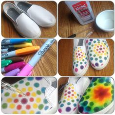 Rainbow sharpie with alcohol blender (?) on canvas shoes DIY. Have not tried it yet. myb