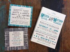 Hand typeset letterpress wedding invitations, and double sided rehearsal dinner invites. Turquoise and charcoal grey, metal type with upside down wood type for the border. We had fun with the typography using a lot of the different typefaces we have in our collection.