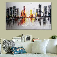 Suuri käsinmaalattu abstrakti taide Kaupunkimaisemat öljymaalaus kankaalle rakentaminen paletti veitsi seinäkuvat Olohuoneen sisustus Decoration, Palette, Photos, Art, Oil On Canvas, Abstract Backgrounds, Living Room, Decor, Art Background