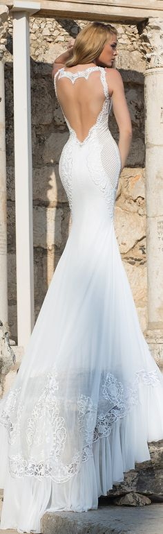 shabi and israel wedding dresses 2015 sexy low cut back sleeveless white fit and flare dress bridal gown #wedding dress #weddings #mermaidweddingdres