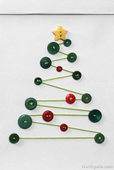 Craft Cottage - DIY Gift Bags: Cute as a Button - Homemade Button Tree Christmas Card Idea / Easy Holiday Craft Ideas ༺✿ƬⱤღ✿༻ - Diy Christmas Cards, Homemade Christmas, Kids Christmas, Christmas Decorations, Christmas Ornaments, Christmas Button Crafts, Simple Christmas, Christmas Card Ideas With Kids, Christmas Buttons