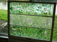 Broken glass on an old window.