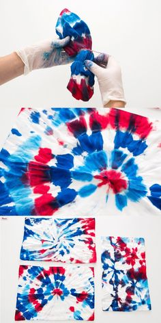 This would be a fun technique for a simple DIY red, white, and blue tie-dye dog bandana for Bastille Day, Fourth of July, etc. Great in other colours too! July Crafts, Diy And Crafts, Arts And Crafts, Tie Dye Crafts, How To Tie Dye, Tie Dye Shirts, Blue Tie Dye, Dog Bandana, Tye Dye