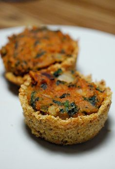 Gluten-free lentil and spinach mini tarts with quinoa crust