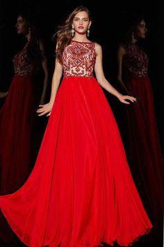 2015 V Neck Prom Dress A Line Beaded Bodice Floor-Length Chiffon&Tulle