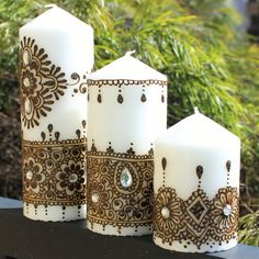 Set Of 3 HANDMADE HENNA CANDLES