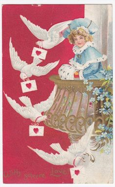 Woman on Balcony with Flying Doves Valentine's Day Embossed Postcard | eBay