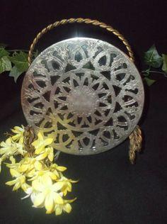 $1.98 Chrome TRIVET HOT PAD Silver Plate Glass Kitchen Ware Vintage glam cottage Decor