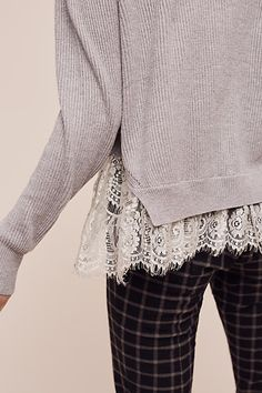 Ribbed Lace-Hem Pullover by Sleeping on Snow