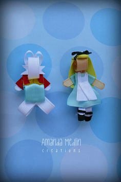 Alice and White Rabbit ribbon sculpture clippy set