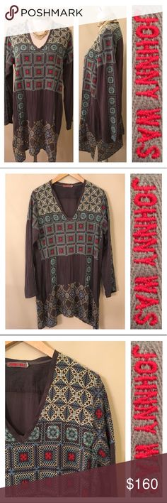 """JOHNNY WAS Gray Tunic w/ Blue & Red Embroidery M Very nice Tunic. Show stopper. Has only one slight flaw in the material. See second to last picture. It's not a hole. But fibers seemed out of alinement. Made of 100% Rayon. But looks and feels like washed silk. Has a relaxed vibe with a Crinkle like texture to fabric. Dark grey with baby blue, cream, butter yellow & red embroidery. Show on my size 6 mannequin. Deep V Neck. Sleeve length 25"""" inches. Underarm to underarm 20"""" inches. From back…"""
