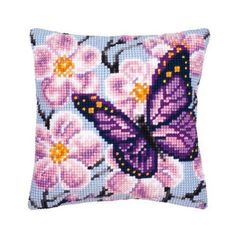 Vervaco 1200122 Butterfly Cross Stitch Cushion, Multi-Colour