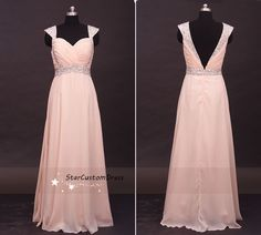 Blush Long Bead Bridesmaid Dress Chiffon Dress With cap sleeves Open v Back Prom Dress by StarCustomDress on Etsy https://www.etsy.com/listing/197374775/blush-long-bead-bridesmaid-dress-chiffon