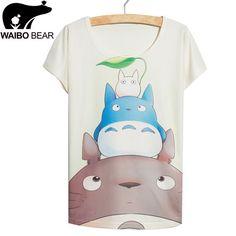 Blue totoro print T-shirt