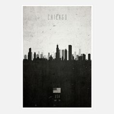 Chicago Cityscape  by Cathryn Lavery $32  In a versatile black and white palette, this contemporary design charts prominent buildings throughout the city, from the Willis Tower to the Prudential Plaza, and comes signed and numbered by the artist.