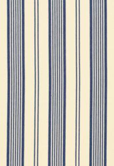 Blue and cream fabric - 'Barnes Ticking Stripe' (SKU 3468001) by Schumacher. fschumacher.com