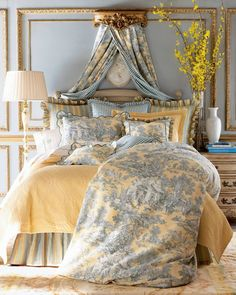 French Country, Blue and Yellow toile bedroom