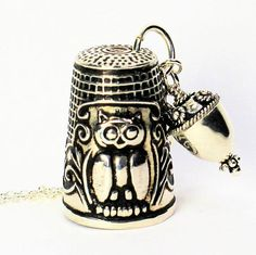 Owl Sterling Silver Antique Thimble and Acorn Hidden Kisses