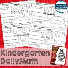 9 weeks of daily math review for Kindergarten students designed to be completed independently each day.