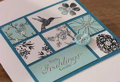 Osterinchie-Karte (inchie card) - Stampin Up - petrol, aquamarin - Osternsotalgie, Frühlingsgefühle, Secret Garden