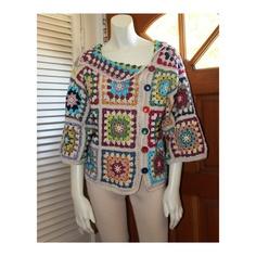 Crochet Cotton Granny Square Colorful Design by AnnieBriggs, $190.00