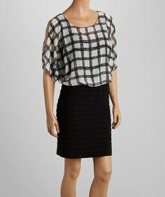 Love this Black & White Windowpane Chiffon Shutter Dress - Women & Plus by Scarlett on #zulily! #zulilyfinds