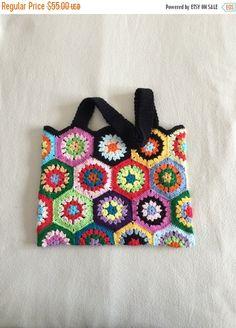 SALE  10% OFF Crochet Granny Square.bag..  Handmade by GalyaKireva